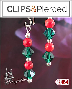 Green & Read Linear Christmas Earrings | Your choice:  Pierced or Clip on