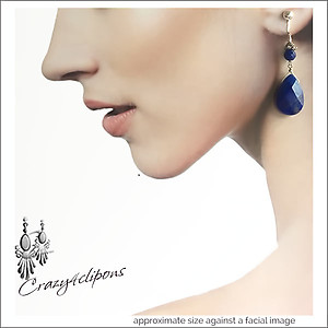 Gorgeous Large Faceted Lapis Lazuli Earrings | Your choice: Pierced or Clip on