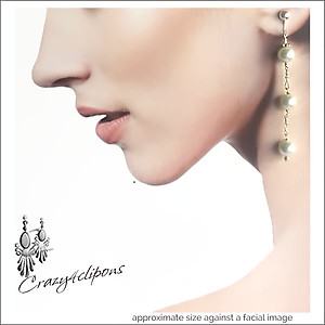 String Of Faux Pearls Dangling Earrings | Your choice: Pierced or Clip on