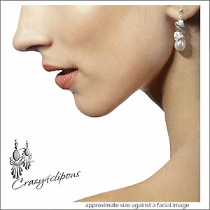 Cluster of Pearls Dangling Earrings - Choose: Pierced or Clips