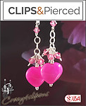 Easter Pink Hearts Earrings | Pierced or Clip on