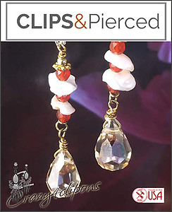 Eclectic & Unique Crystals, Keshi Pearl Earrings | Your choice:  Pierced or Clip on