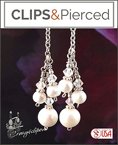 Perfect for Brides: Dangling White Pearl Earrings | Your choice: Pierced or Clip on