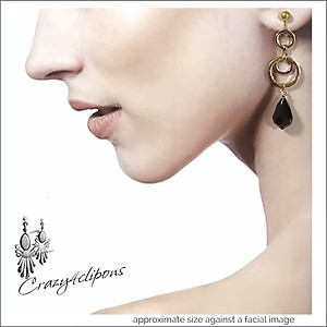 Dangling Gold Hoops w/ Black Earrings