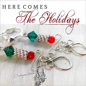 Christmas Wire-works. Unique Earrings | Your choice:  Pierced or Clip on