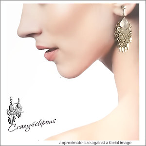 Ethnic Chain-wired Chandelier Earrings | Your choice:  Pierced or Clip on