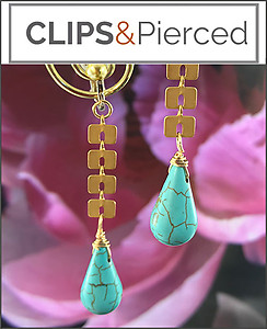 Eclectic Gold Dangling Earrings | Pierced & Clips