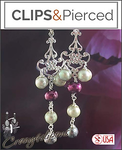Long & Bohemian Pearl Earrings | Your choice:  Pierced or Clip on