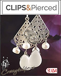 Filigree & Mother of Pearl Earrings | Your choice: Pierced or Clip on