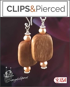 Bohemian Wood & Pearl Earrings | Your choice:  Pierced or Clip on