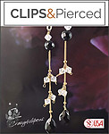 Long, Sophisticated Gold/Black Onyx Earrings | Your choice: Pierced or Clip on