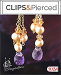 Dainty Amethyst & Pearls Earrings | Your choice:  Pierced or Clip on