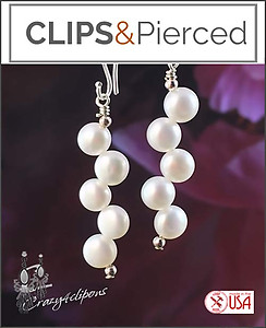 Unique and Fun! ZigZag Pearl Earrings | Your choice:  Pierced or Clip on