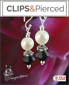 Pierced & Clip Earrings: Pearl w/ Swarovski