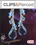 Pretty Dangling Crystal Earrings | Your choice: Pierced or Clip on