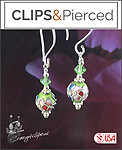 Colorful  Swarovski & Cloisonne Earrings | Your choice:  Pierced or Clip on