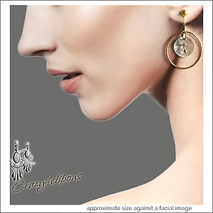 Gold Hoop Earrings w/ Shells | Your choice:  Pierced or Clip on