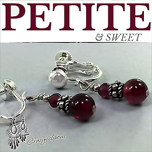 Petite Dark Red Garnet Earrings | Your choice:  Pierced or Clip on