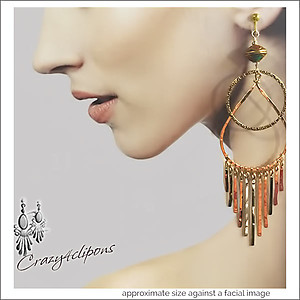 Dramatic Bold Gold Fringe Teardrop Earrings