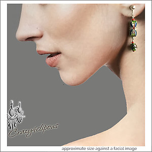 Artsy w/ Cloisonne Beads Earrings | Your choice:  Pierced or Clip on