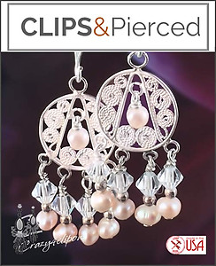 Delicate Pearls & Filigree Earrings | Your choice:  Pierced or Clip on
