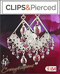 Purple Pearls & Silver Chandelier Earrings | Your choice: Pierced or Clip on