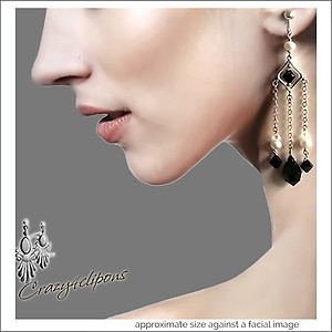 Alluring Long Black Tie Earrings | Your choice: Pierced or Clip on
