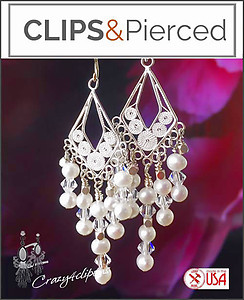 Sterling Silver Pearls & Crystal Earrings | Your choice:  Pierced or Clips