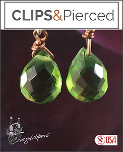 Copper & Crystal Earrings | Your choice:  Pierced or Clips