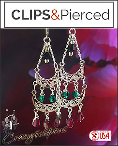 Fancy Holiday Green/Red Earrings | Your choice:  Pierced or Clips