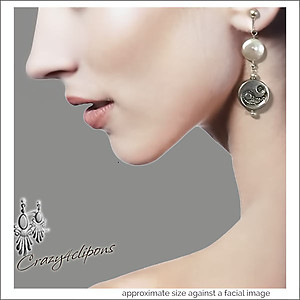 Yin Yang Fresh Water Pearls Earrings | Your choice: Pierced or Clips