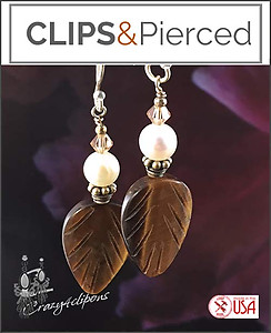 Autumn Tiger-eye & White Pearl Earrings | Your choice: Pierced or Clips