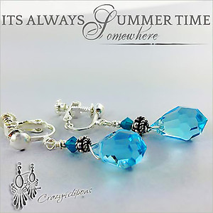 Ocean Blue. Summer Earrings | Your choice:  Pierced or Clips