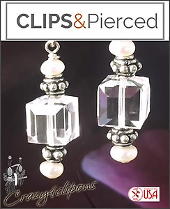 Crystal Swarovski Ice Cube Earrings | Your choice:  Pierced or Clips
