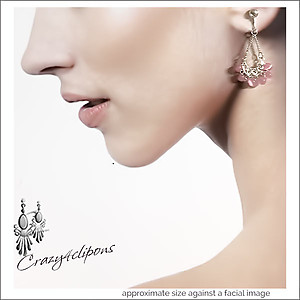 Pink Mini Chandelier Earrings | Your choice:  Pierced or Clips