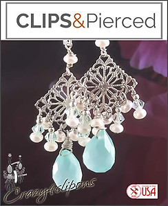 Romantic Filigree & Crystal  Earrings | Your choice:  Pierced or Clips