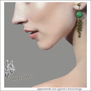Green Turquoise w/ Antique Brass Tassels Earrings | Your choice:  Pierced or Clips