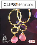Gold Hoops W/ Chalcedony Earrings | Your choice: Pierced or Clips