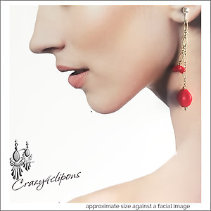 Bold, Colorful & Modern Long Earrings | Your choice:  Pierced or Clips