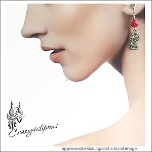 Mystical Silver Dragons Earrings | Your choice:  Pierced or Clips