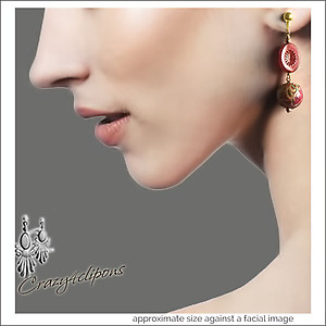 Whimsical Red Dangling Earrings | Your choice:  Pierced or Clips