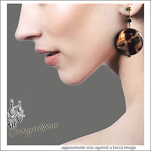 Daring & Wild.  Leopard Disc Earrings | Your choice:  Pierced or Clips