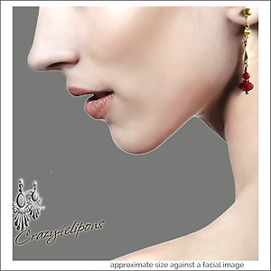 Holidays: Gold & Scarlet Red Earrings | Pierced & Clips