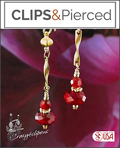 Dangling. Gold & Scarlet Red Earrings | Pierced & Clips