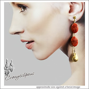 Statement Long Gold Coral Earrings