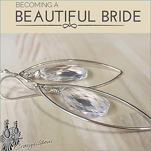Bridal Crystal Large Hoop Earrings | Your choice: Pierced or Clips