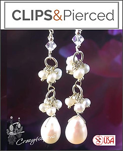 Bridal Pearl Earrings | Your choice:  Pierced or Clips