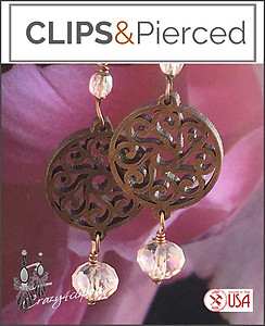 Unique & Eclectic Wood Filigree Earrings | Your choice:  Pierced or Clips