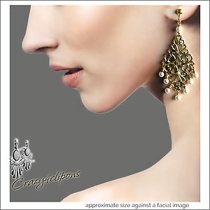Vintage Flair. Antique Gold Filigree Earrings | Your choice: Pierced or Clips