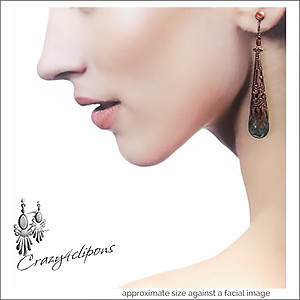 Filigree Cones of Antique Copper Earrings | Your choice:  Pierced or Clips